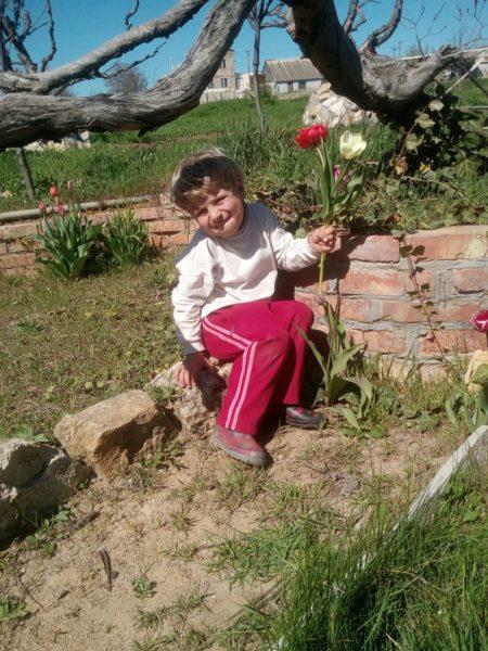 оря собирает тюльпаны для букетов в Зеленом театре