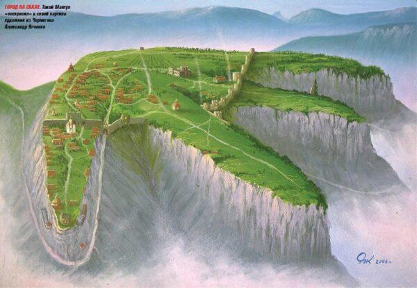 Художественная реконструкция столицы княжества Феодоро на вершине горы Мангуп
