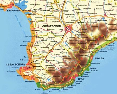 Юго-запад Крыма, карта. Горы и море. Пещерные города. Дворцы аристократов, Черноморский флот. От каждой достопримечательности видишь еще несколько
