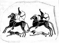 киммерийцы на лошадях в сопровождении собак