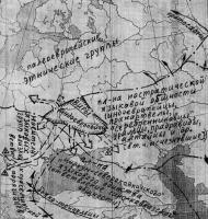 Карта-схема первоначальной дифференциации индогерманцев