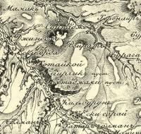 фрагмент карты 1816 года: Тотай-кой, Тохта-джами, Эски-орда, Эски-сарай