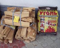 продажа дубовых дров и древесного угля для гриля на АЗС