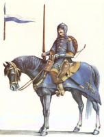 Панцирный товарищ, вооруженный легким копьем, саблей, луком и пистолетами. Сер. XVII в.