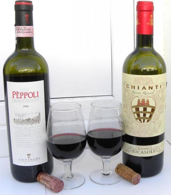 Кьянти Барон Риказоли и другие вина Италии Краеведение  Кьянти Классика Пепполи пр во маркиз Антинори и Кьянти Барон Риказоли