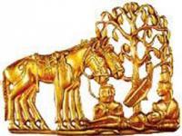 скифы с лошадьми под золотым деревом. Тыва, Долина царей, курган Аржаан