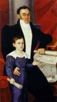 Неизвестный художник. Портрет неизвестного с ребенком у карты Российской Империи. 1830-е годы. Фрагмент