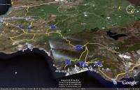 вид из космоса от Севастополя до Фороса с картой автомобильных дорог