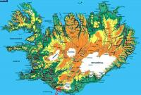 карта острова Исландия и местоположение вулкана (ледника) Эйяфьядлаёкюдль