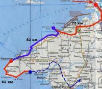 карта велосипедного маршрута по Северо-западному Крыму