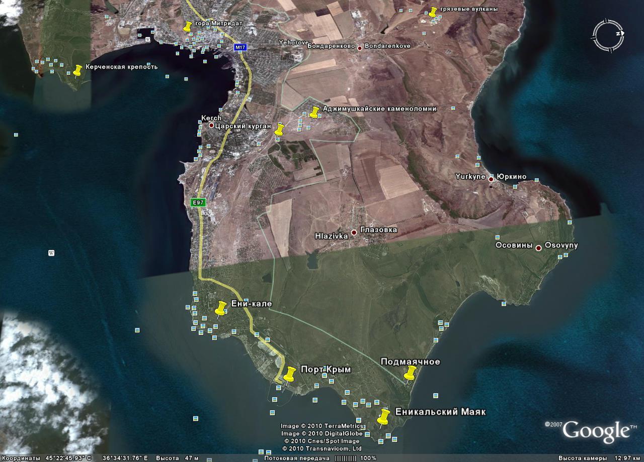 Поселок Подмаячное на Керченском проливе песчаный пляж  объекты туризма и экскурсий в окрестностях пос Подмаячное на снимках Гугл Земля