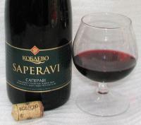 Саперави Коблево, этикетка бутылки и вино в бокале