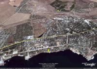 Керчь, пляж на улице Сморжевского и улица Войкова на космических снимках Гугл Земля