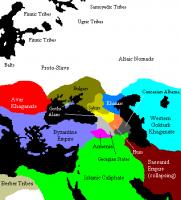 Причерноморские государства в 650 году новой эры (Кавказская Гунния и другие)