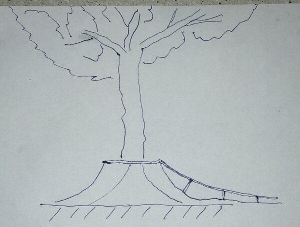 Вокруг существующих больших высоких деревьев можно делать фигуры с радиусами и рейдами. Высоты 80-120 см. Радиус с выбросом вверх 150-180 см и коупингом.