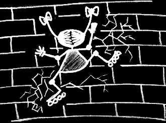 Ролики опасная игрушка. Не убейсся об стеную. Автор рисунка СЫР (Ирина Доронина, Гурзуф)